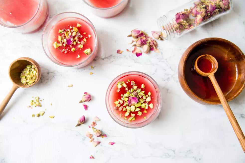 Malabi rose water milk pudding