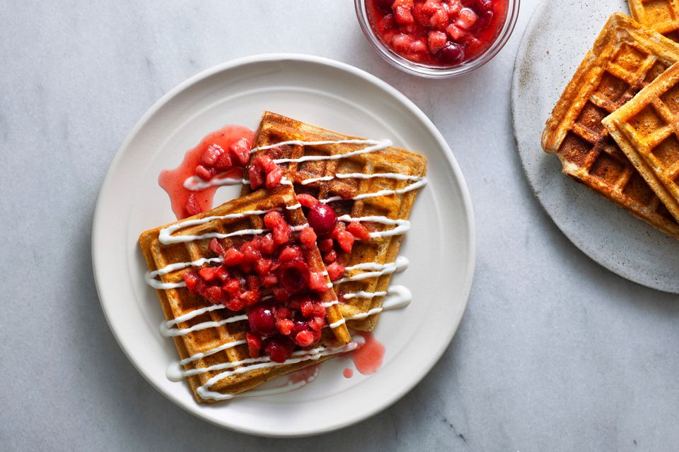 Buckwheat Waffles With Strawberry Compote