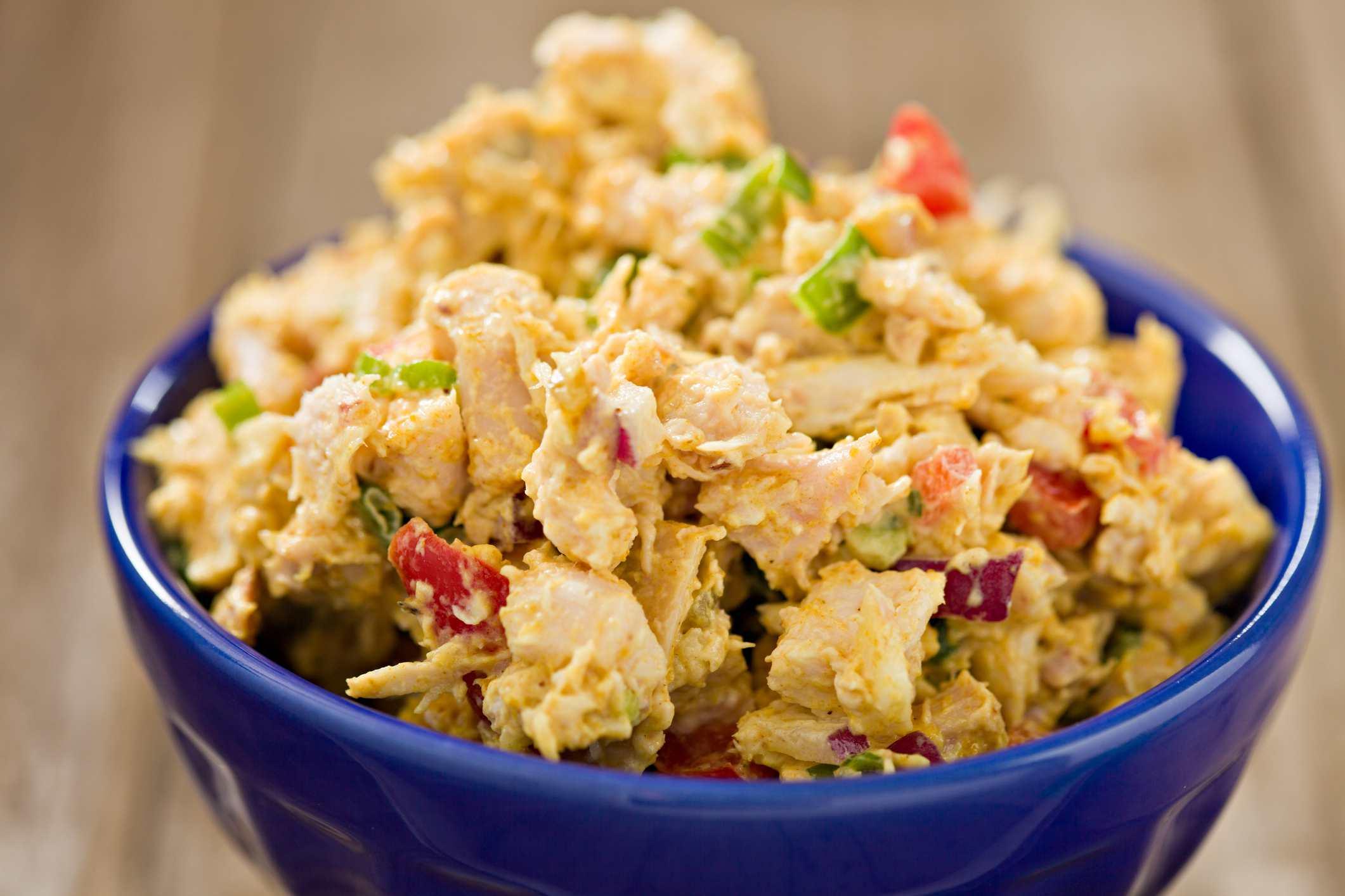 Curried Chicken Salad in blue bowl