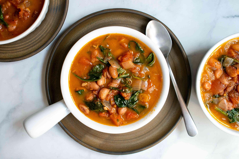 Fresh Borlotti Bean, Tomato, and Spinach Soup