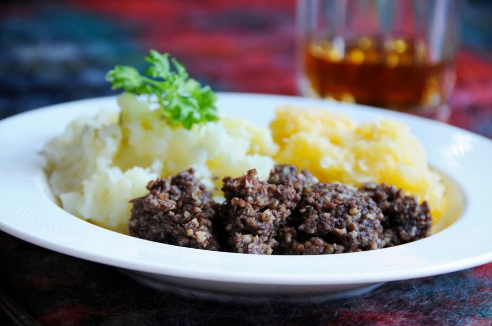 Haggis with tatties and neeps