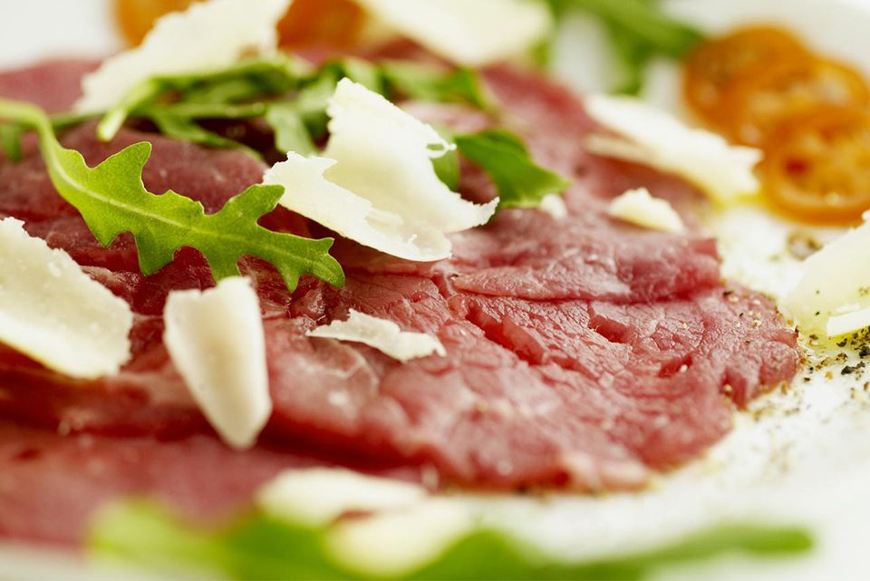 Beef carpaccio with rocket and parmesan