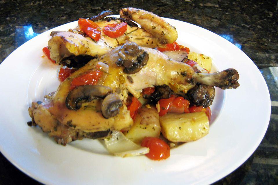pollo y papas asados fáciles