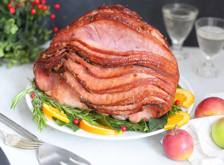 Dr. Pepper ham on a serving platter