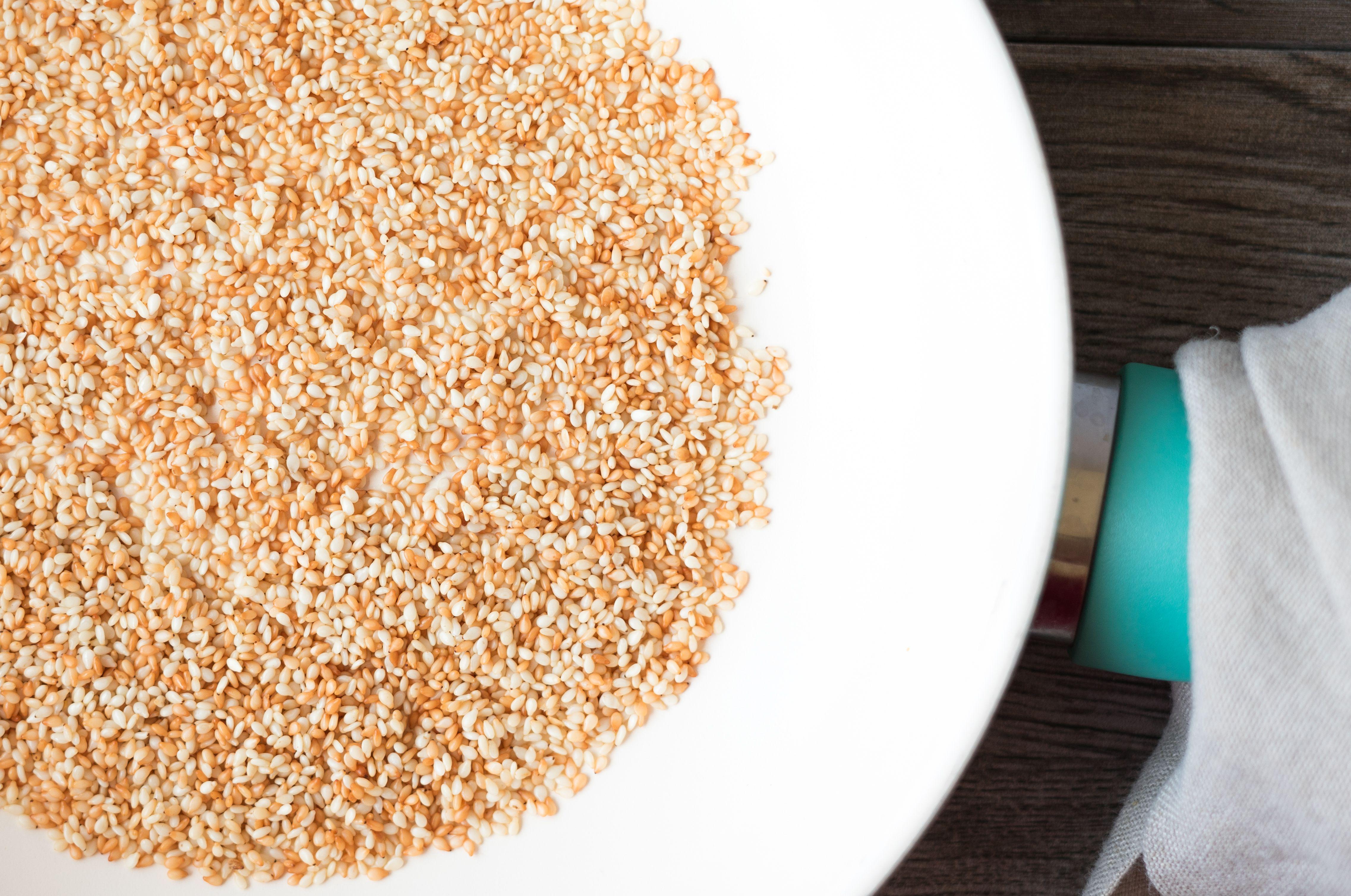 Sesame seeds in a pan