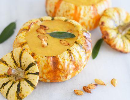 pumpkin bowl with soup