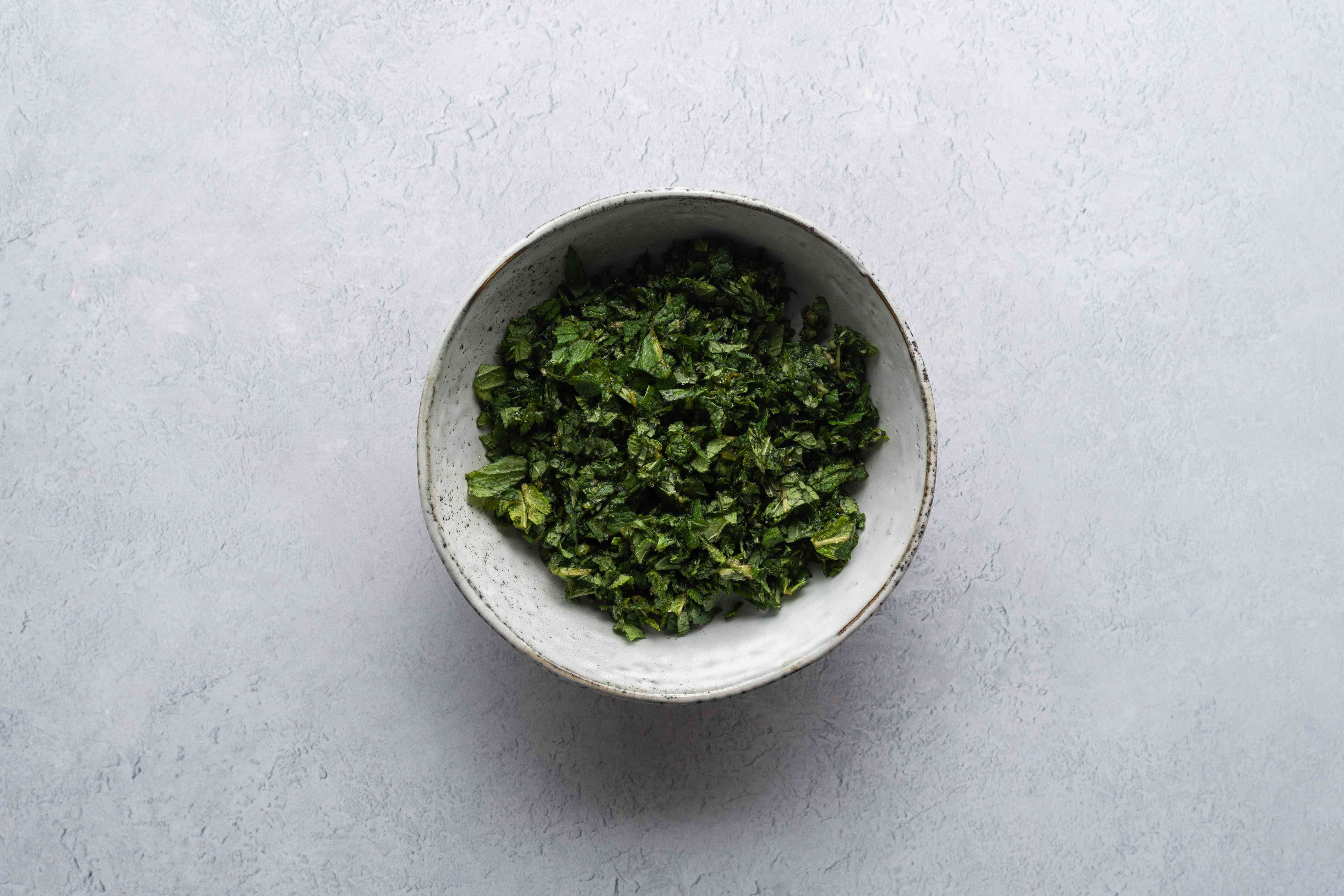 mint and sugar in a bowl