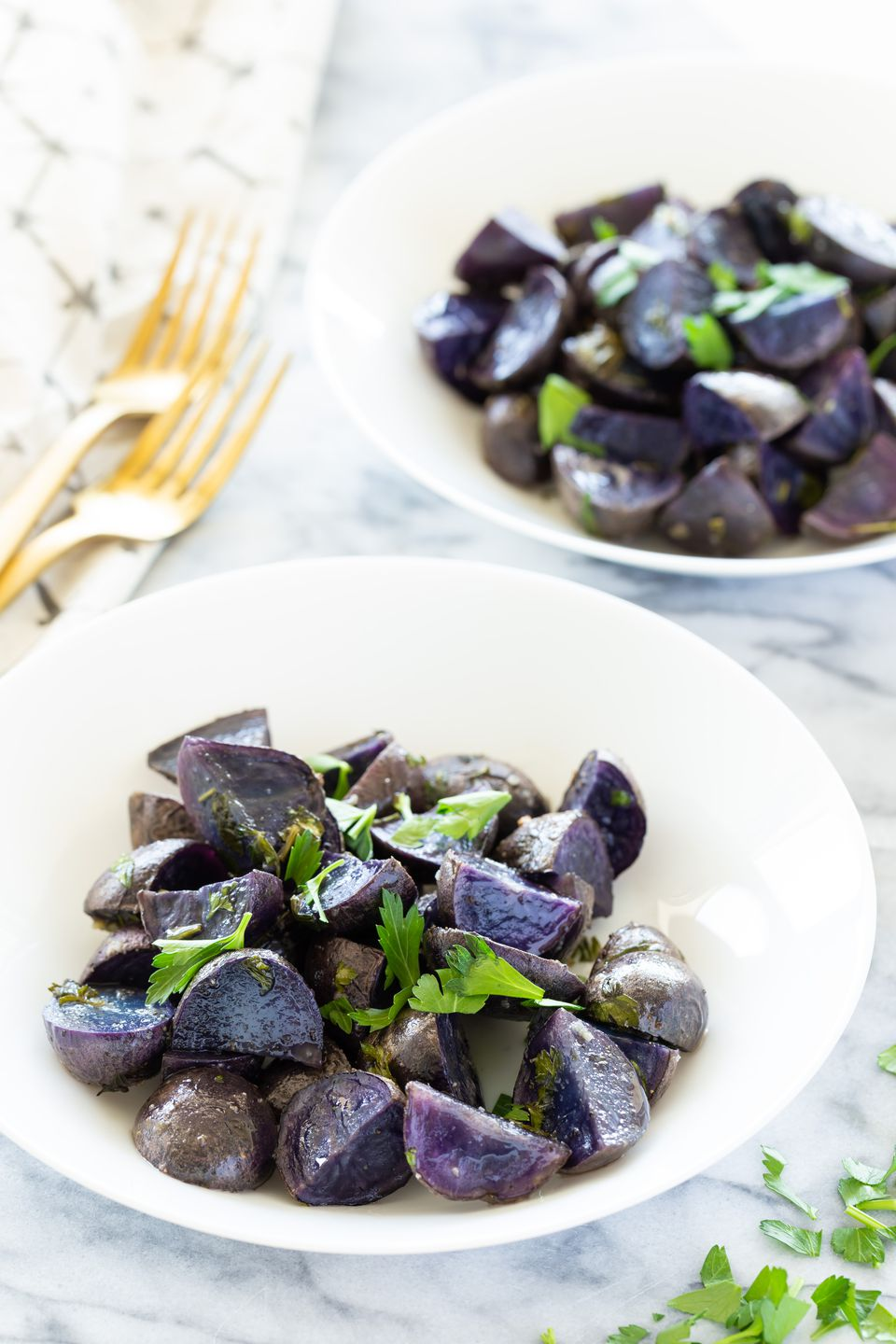 Roasted purple potatoes