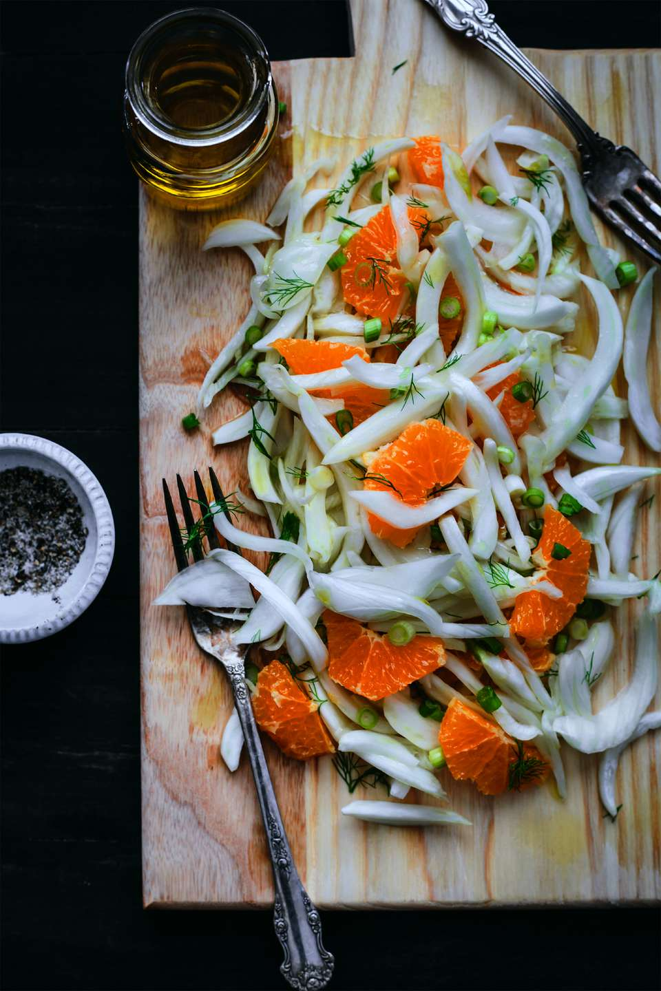 Sliced fennel, scallions, and blood orange