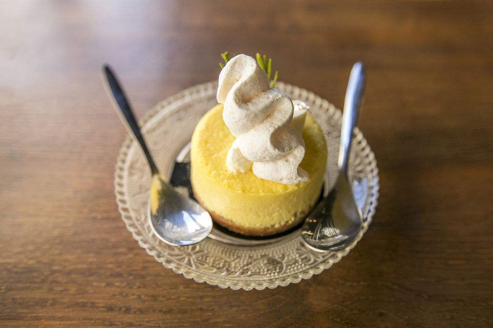 Spoons with lemon tart