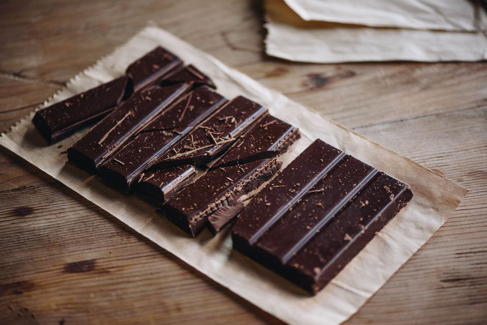 Rustic homemade dark chocolate