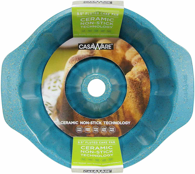 casaWare Ceramic Coated NonStick 9-Inch Fluted Cake Pan