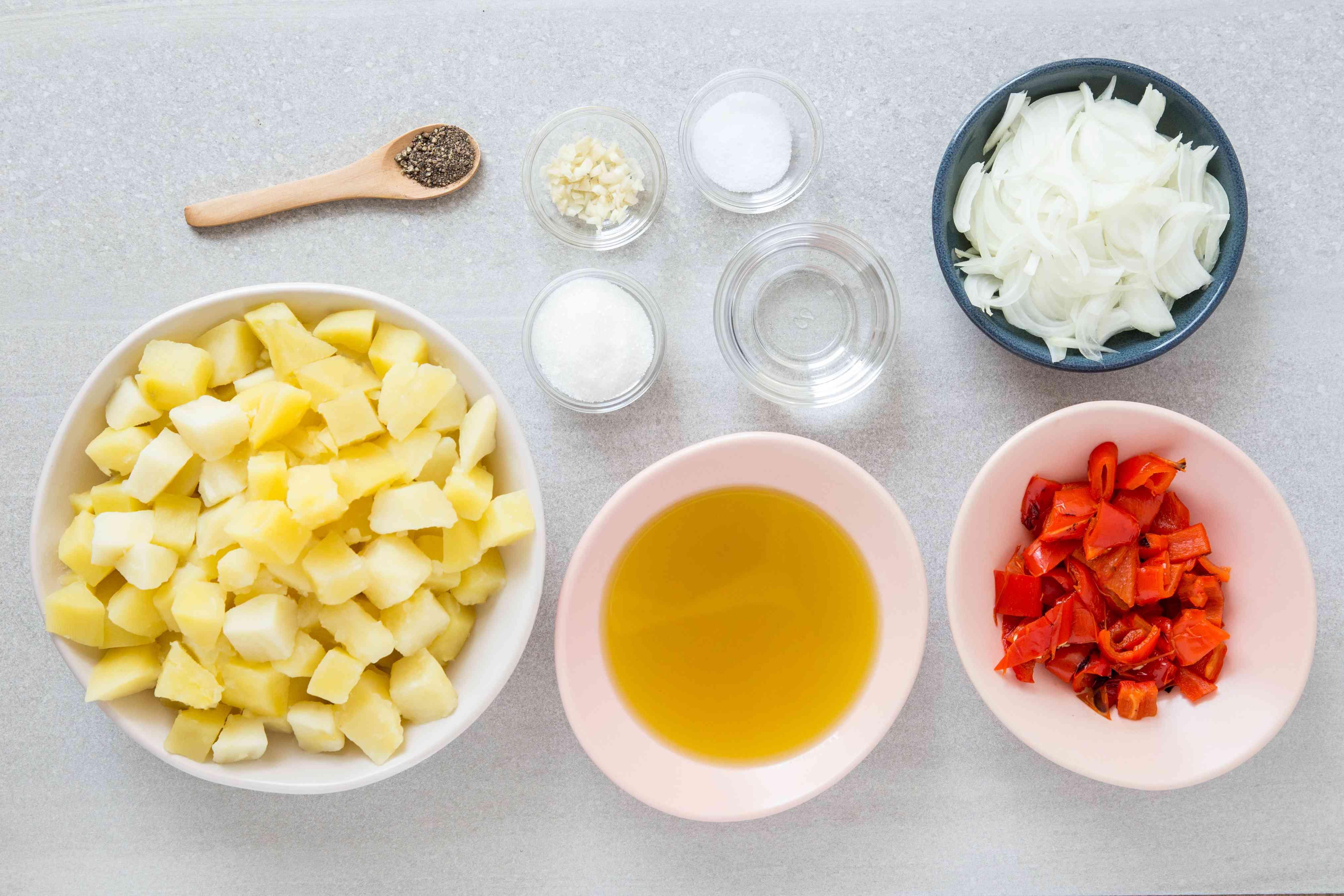 Serbian Potato Salad - Krompir Salata ingredients