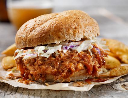 Oven Roasted Pulled Pork on a bun