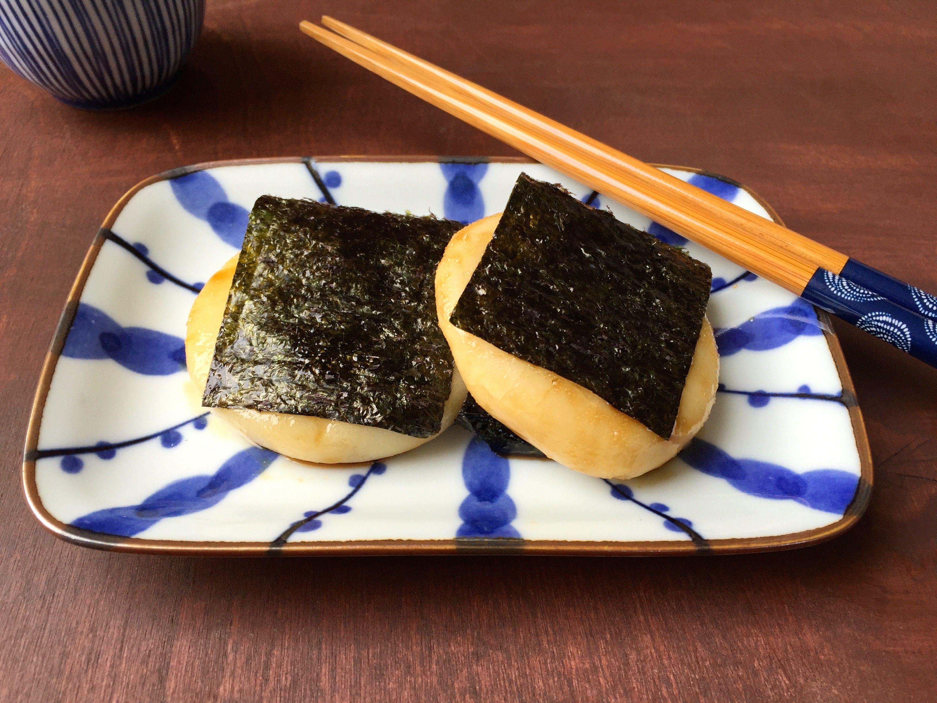 Sweet Soy Glazed Rice Cake with Seaweed