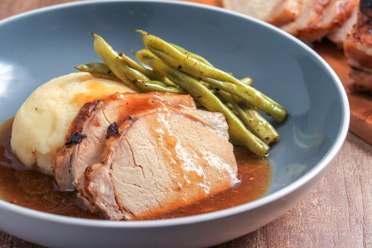 Crock pot pork loin with mashed potatoes and gravy