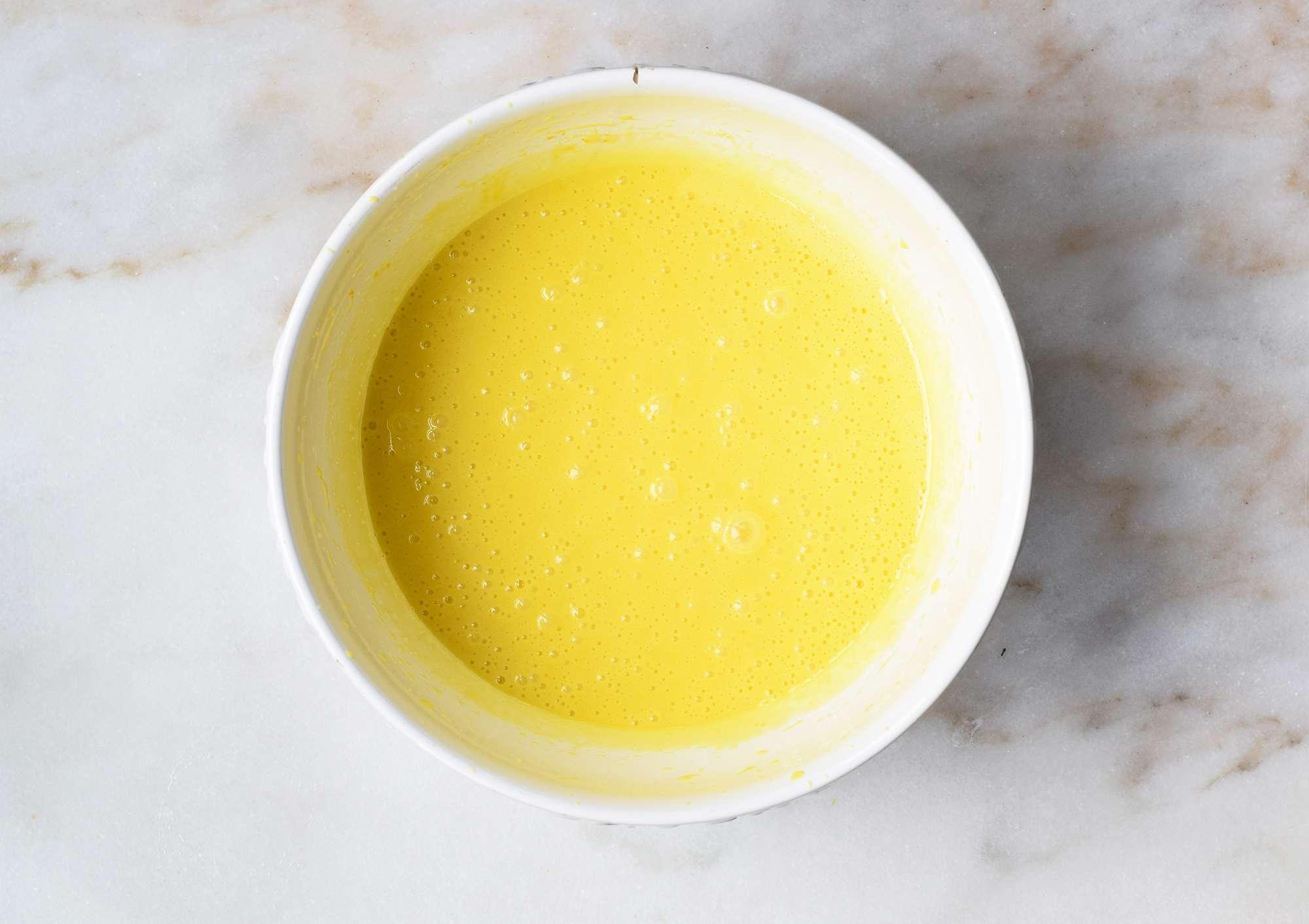 olive oil beaten into cake batter
