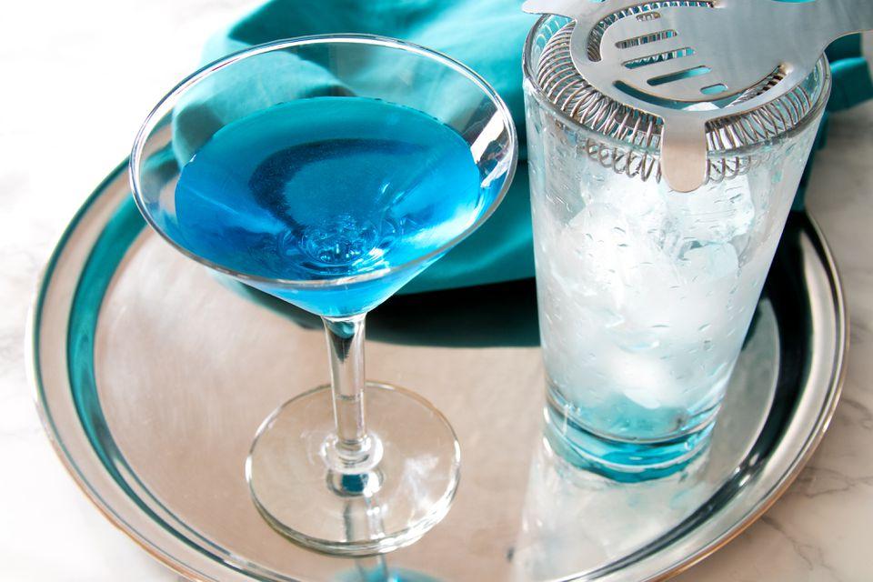 Straining a Sapphire Alpine Blue Martini