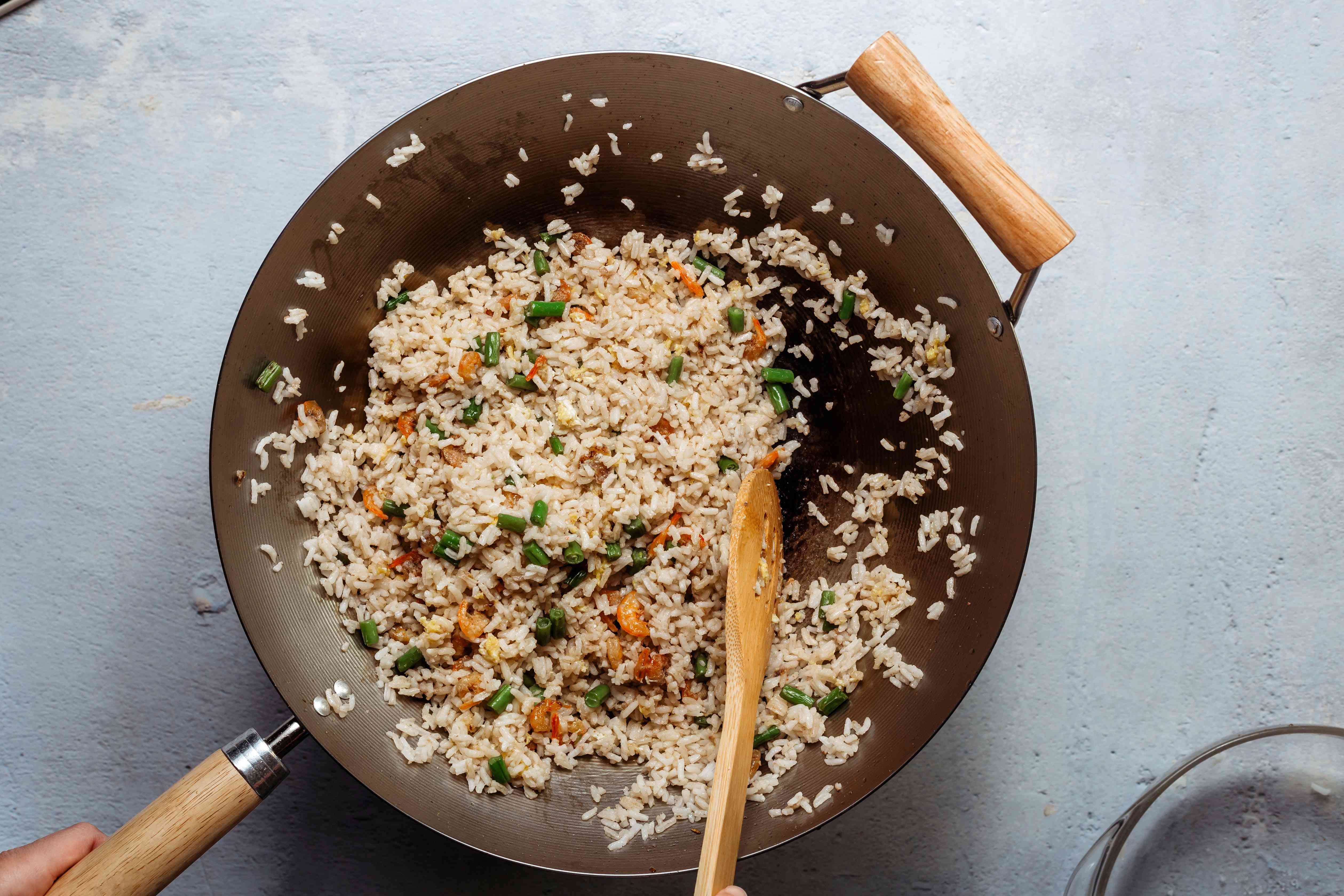 fried rice cooking in a wok