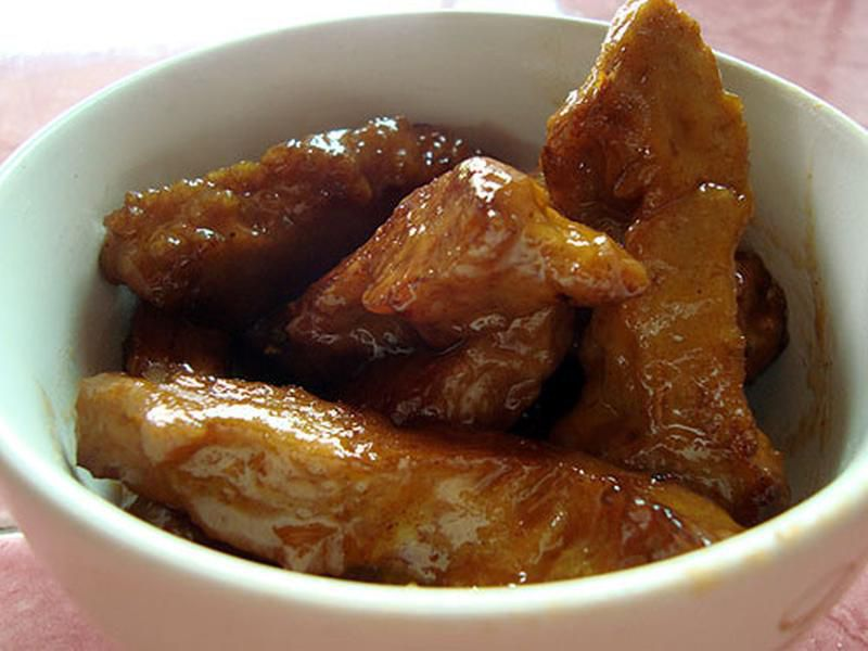 Buffalo wing-style fried seitan in a bowl