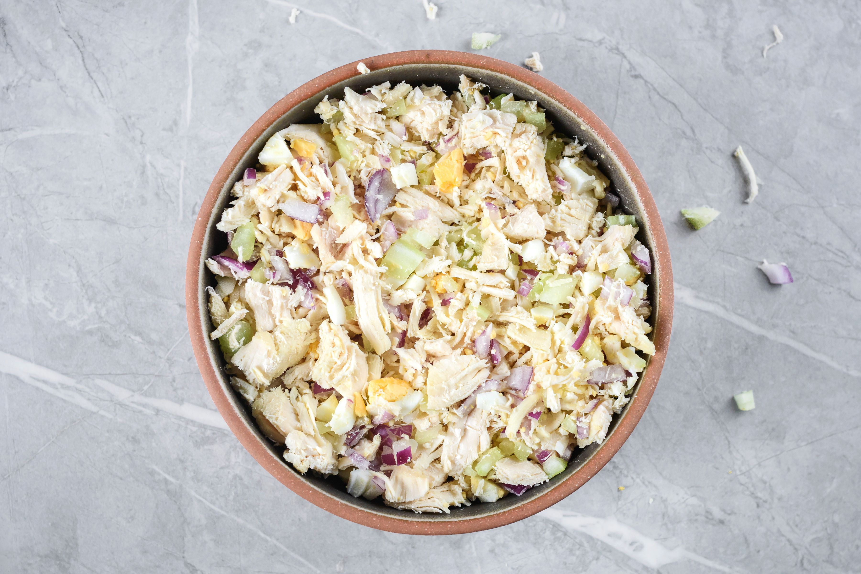 Combine cooked chopped chicken and celery