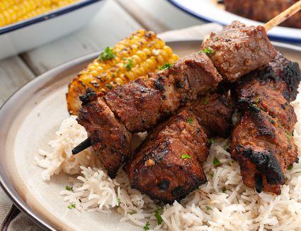 Grilled beef anticuchos de carne