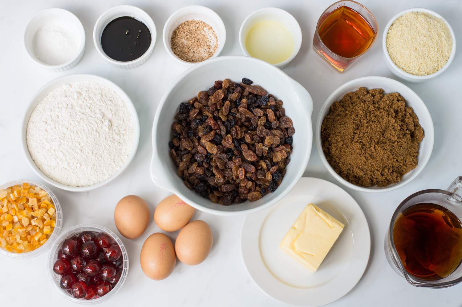 All of the ingredients to make a traditional British fruitcake