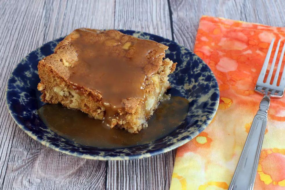 Apple walnut cake with butterscotch sauce
