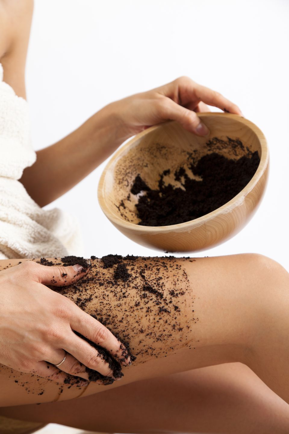 Natural body care. Cellulite massage with coffee scrub
