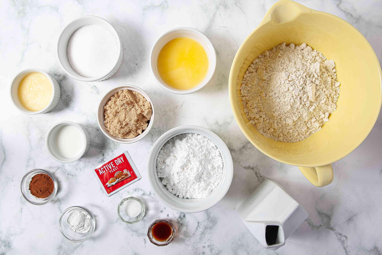 ingredients for Gluten Free Cinnamon Rolls