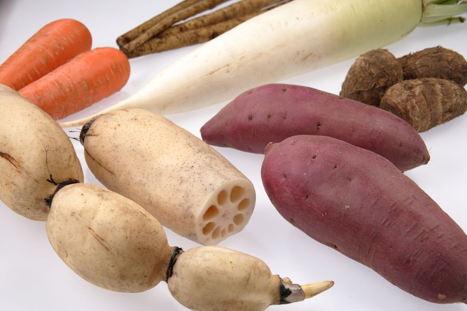 Assortment of root vegetables.