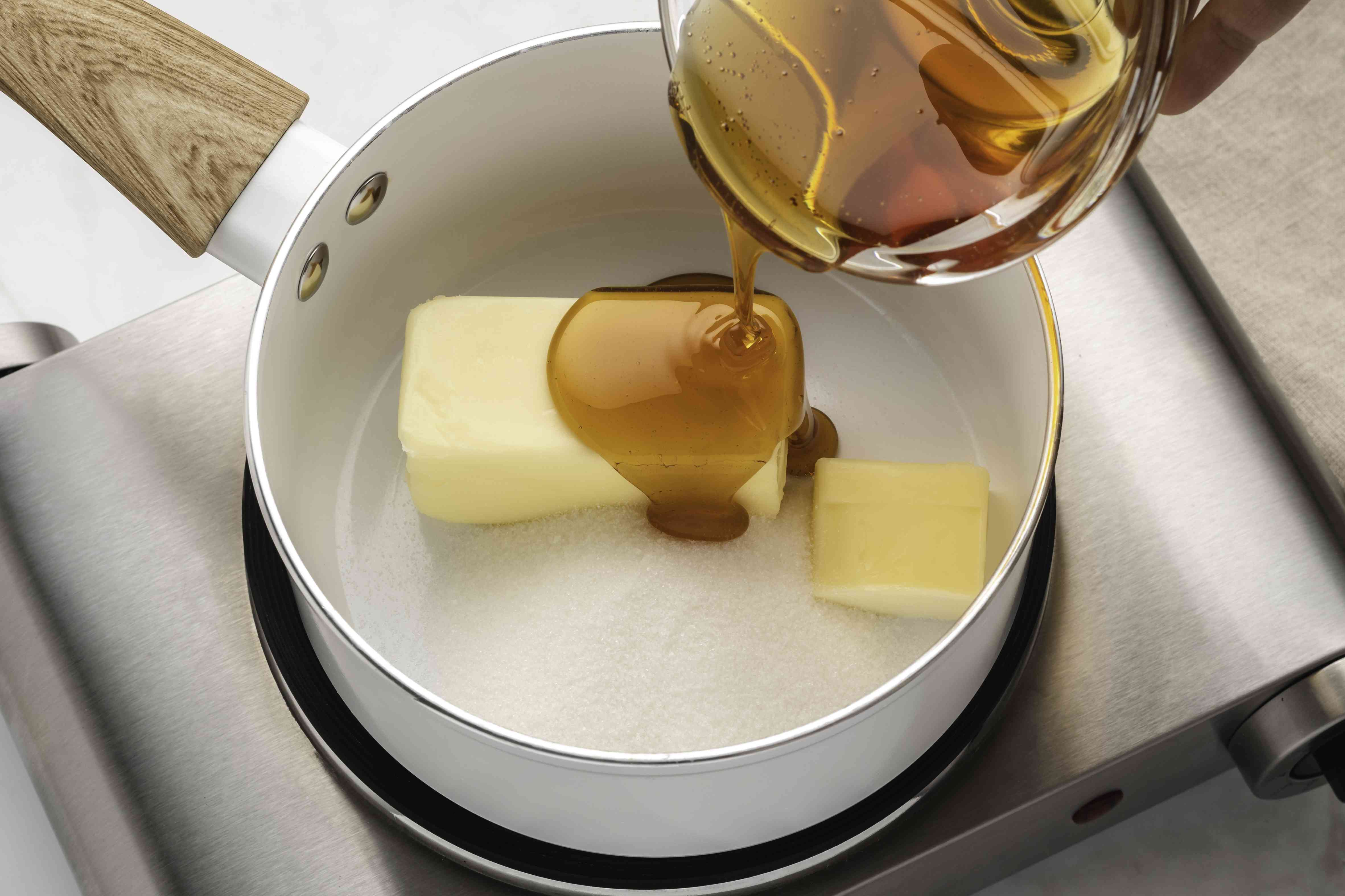 Sugar, honey and butter in a saucepan