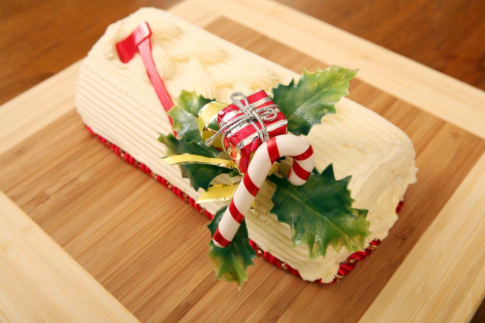 White chocolate buche de Noel