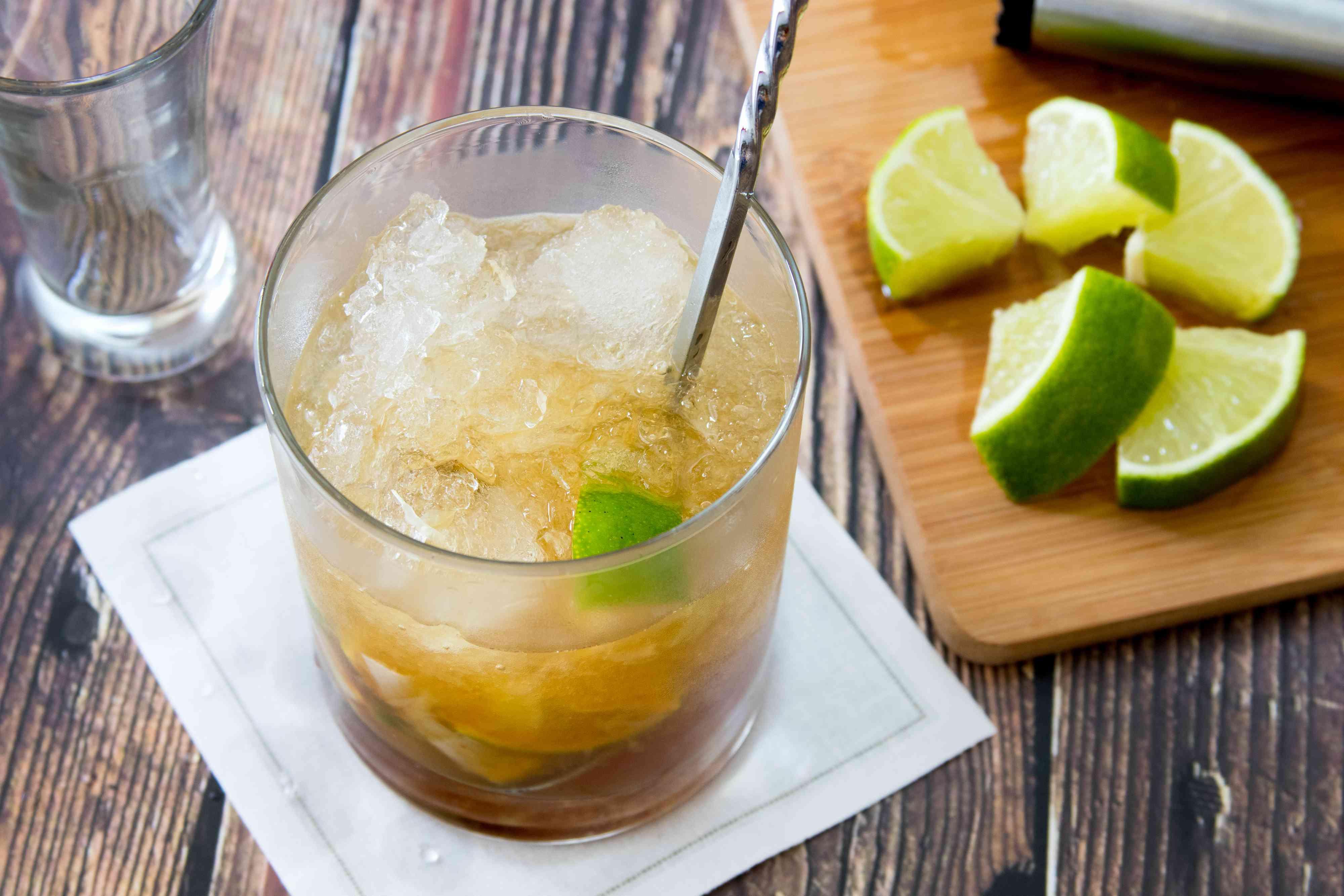 Stirring a Caipiroska Cocktail