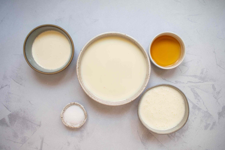 Homemade Queso Fresco Cheese ingredients, whole milk, whipping cream, buttermilk, salt, vinegar
