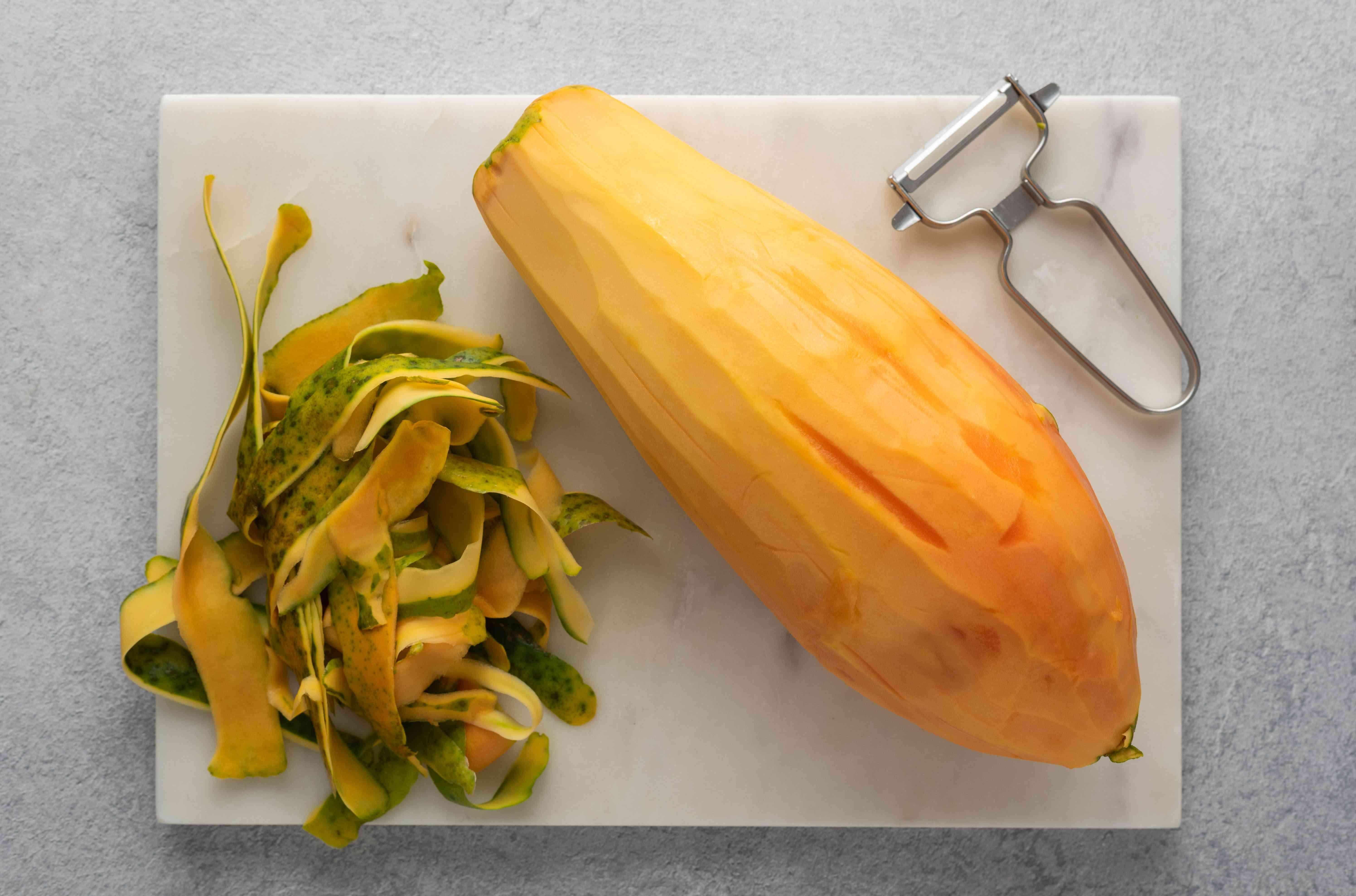 peel papaya with vegetable peeler