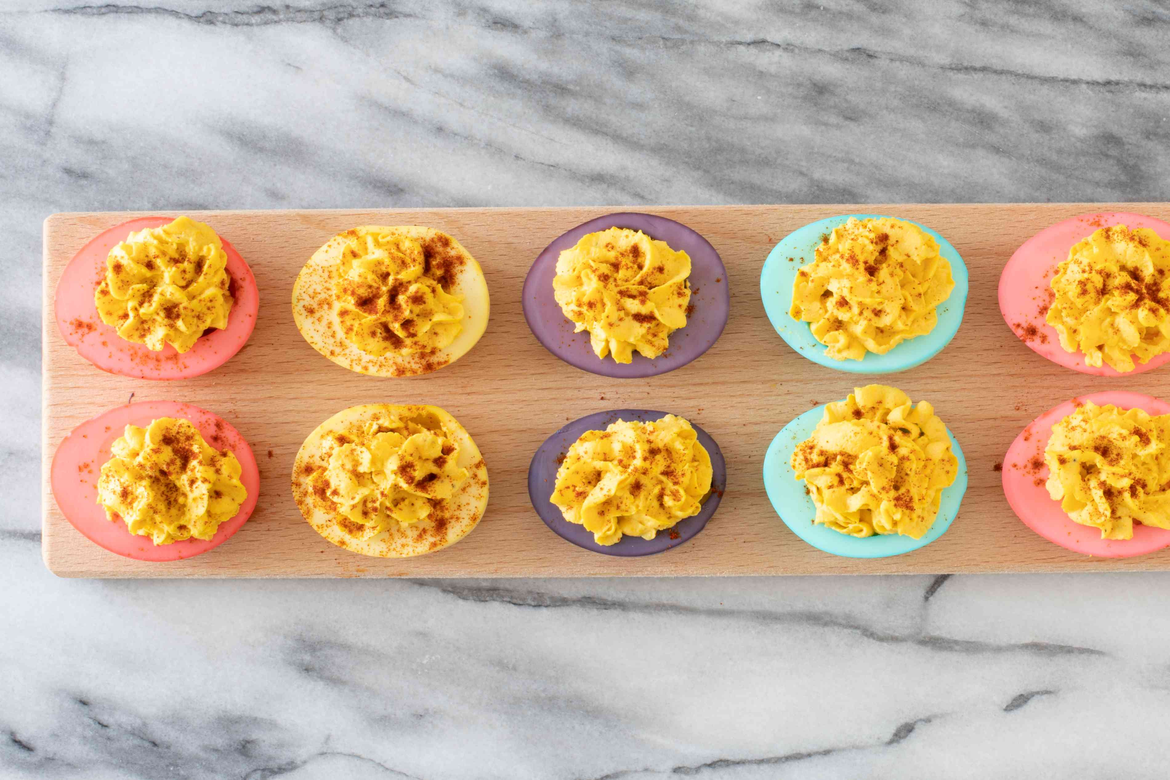 easter deviled eggs in pastel colors