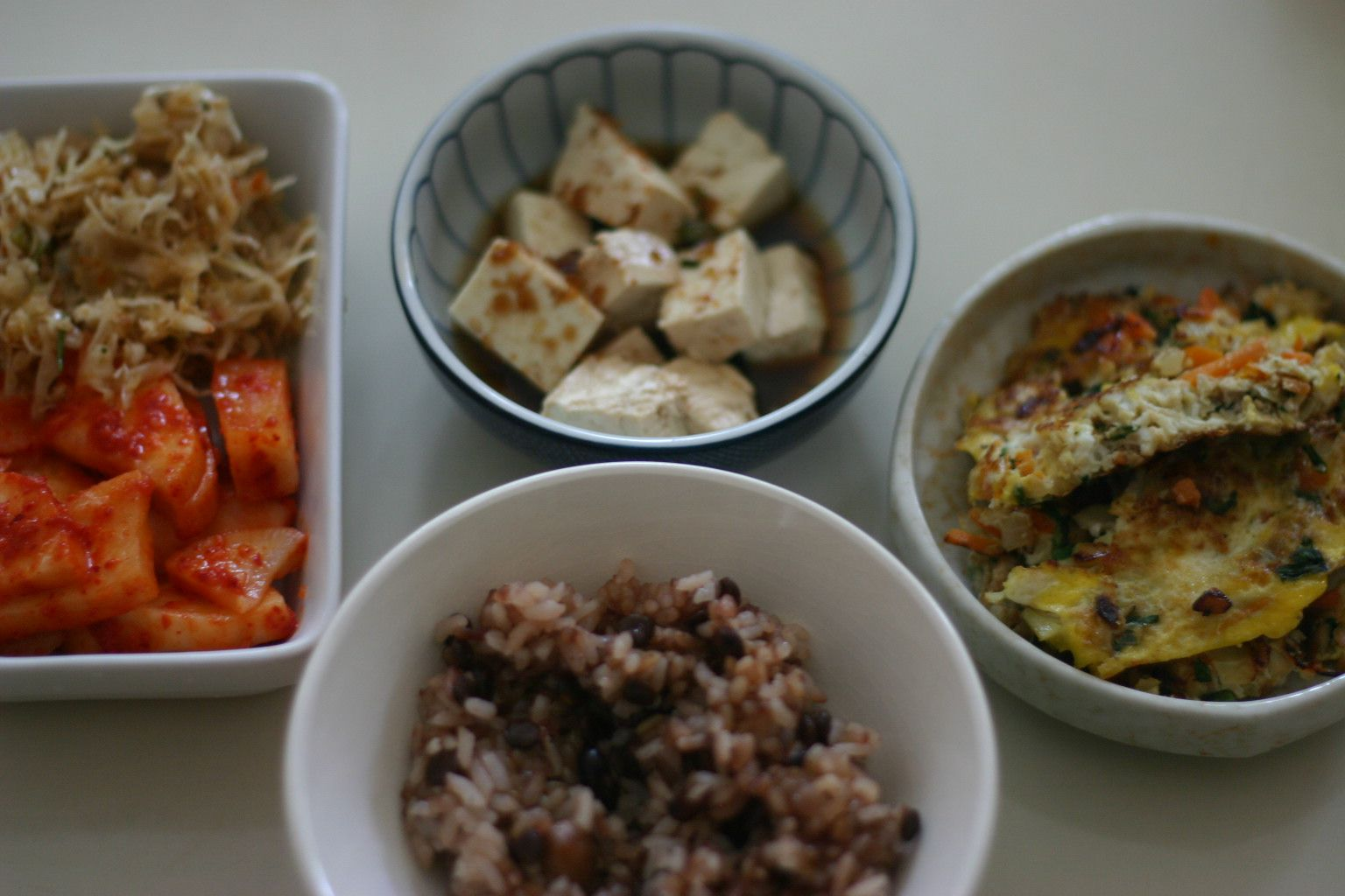 Korean Breakfast with Tofu and Omelette