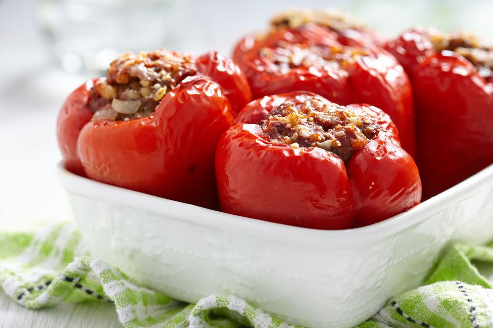 Stuffed Peppers With Bulgur and Basil