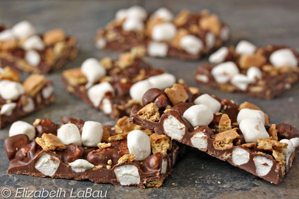Smores bark on a granite countertop