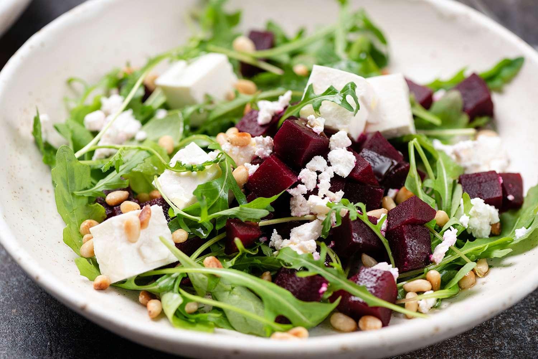 Roasted beet and feta salad with arugula