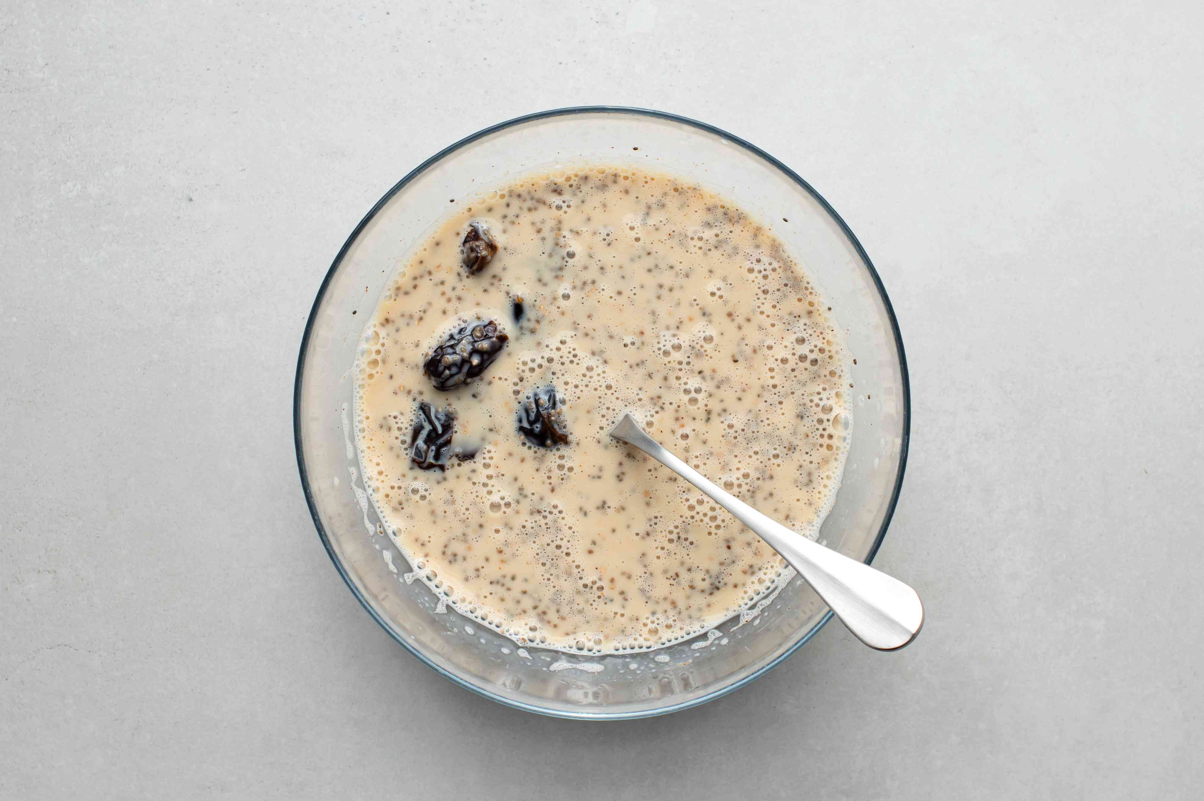 Stir the quartered dates into the chia seed mixture
