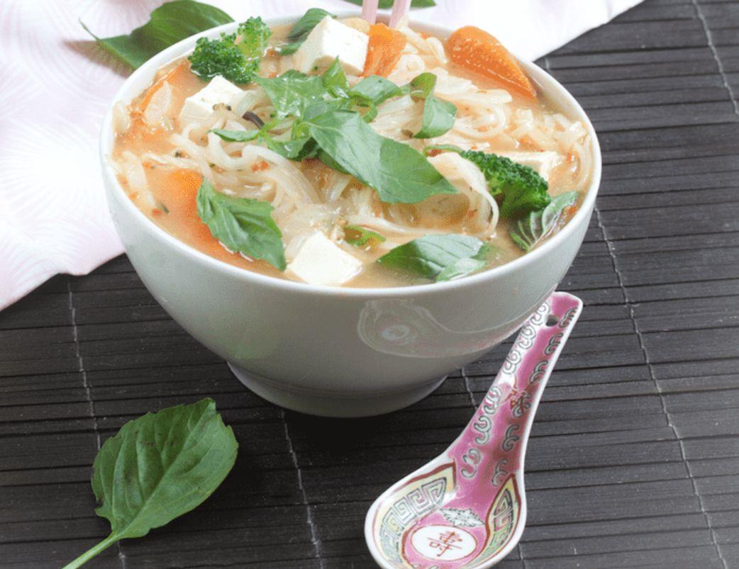 Vegan Pho Noodle Soup With Tofu