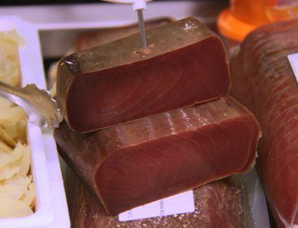 Mojama or dry tuna in fish market