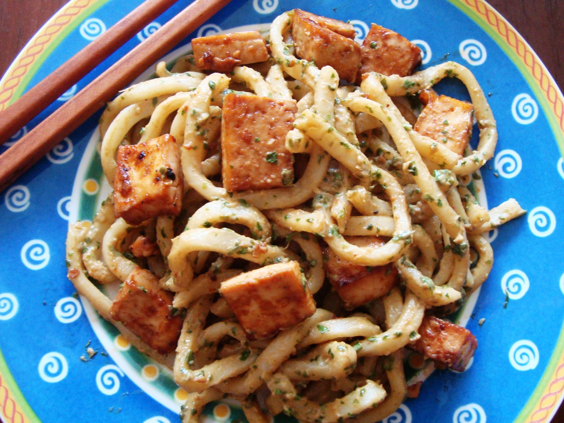 Vegan Udon Noodles In Cilantro Lime Peanut Sauce Recipe
