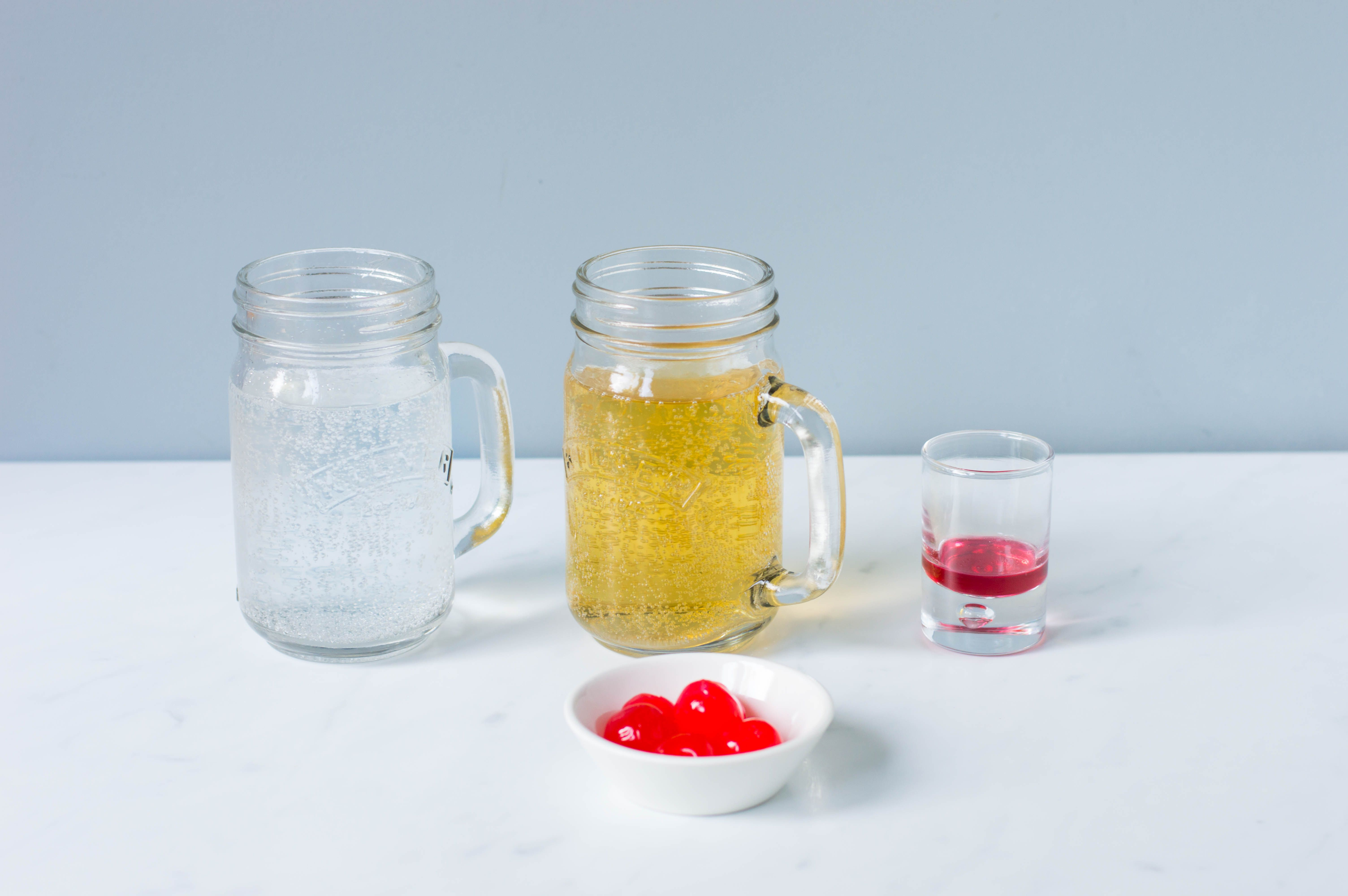 Ingredients for making a Shirley Temple drink