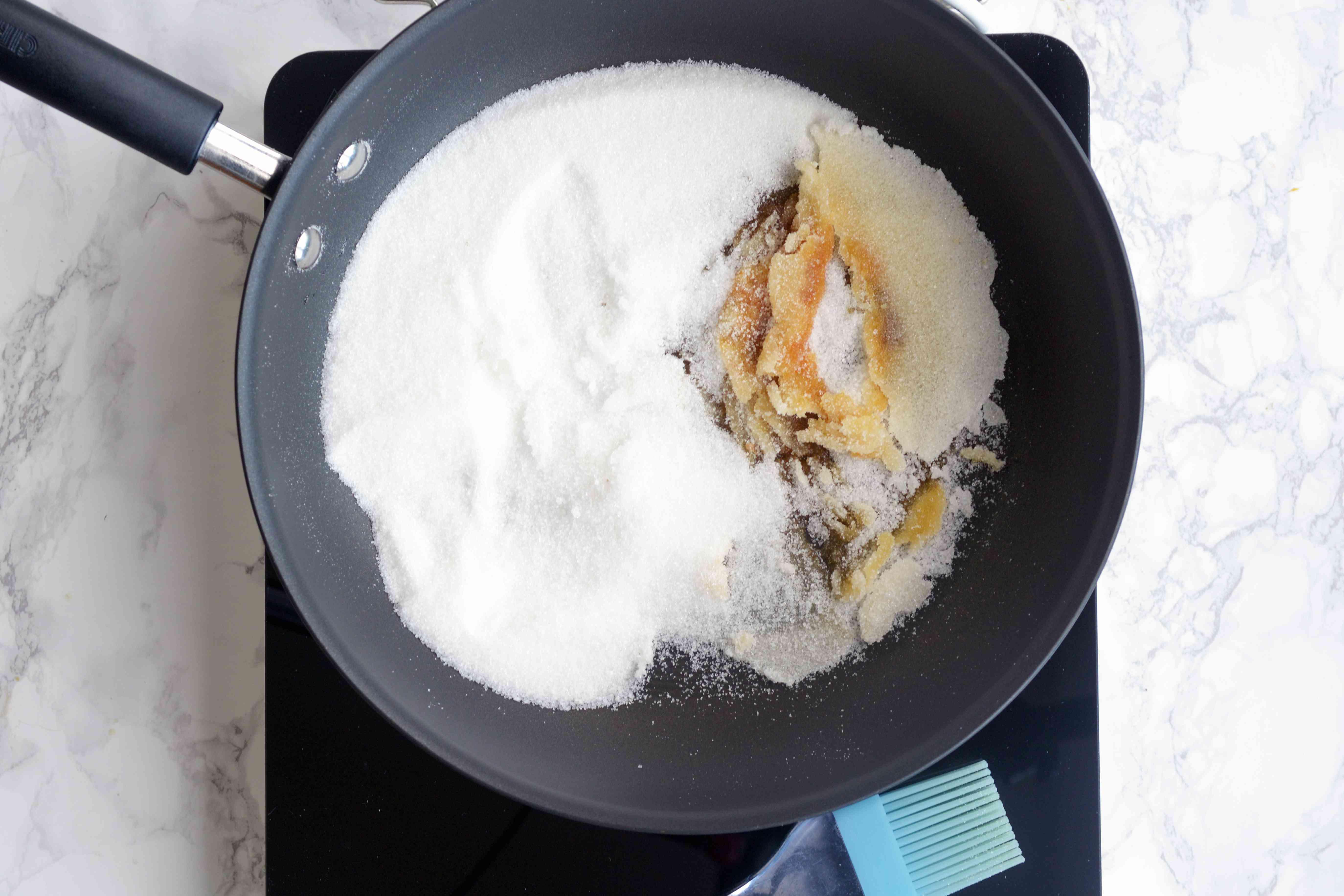 Sugar starting to melt in a pan