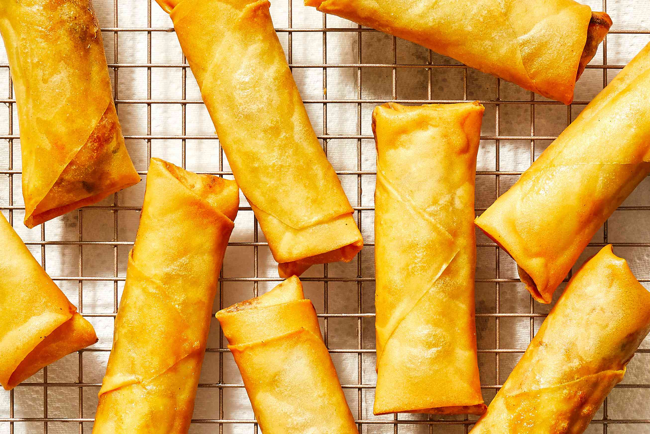 Chinese Vegetable Spring Rolls on a cooling rack