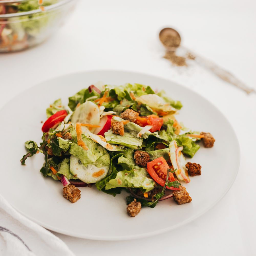 Basic Tossed Salad With Homemade Croutons And Dressing