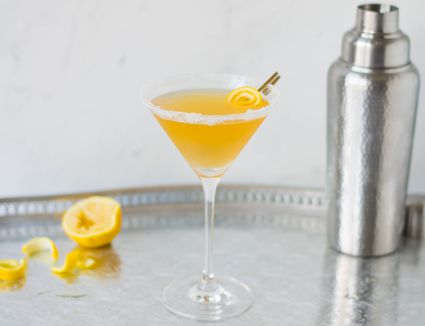 Classic sidecar cocktail in a martini glass